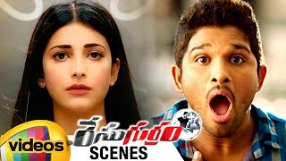 Race Gurram Movie Scenes | Allu Arjun about Pawan Kalyan | Shruti Haasan Shocks Allu Arjun