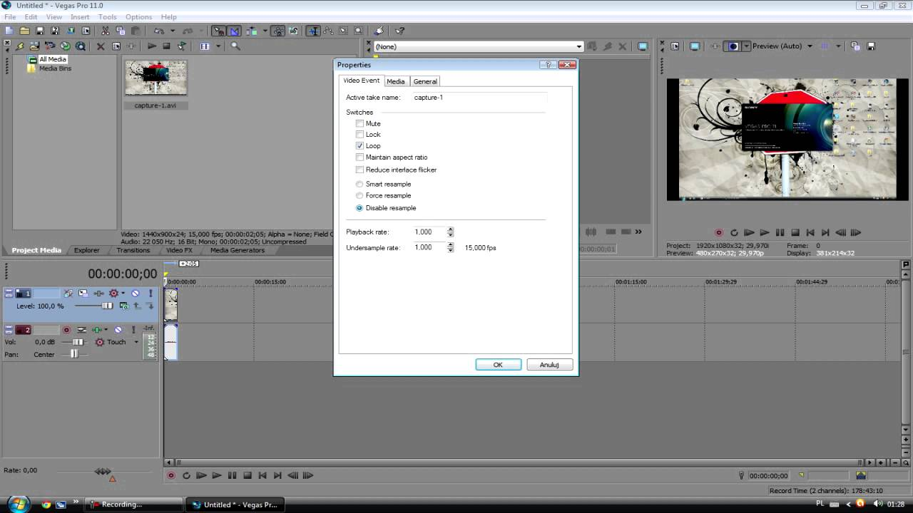 how to play sony vegas movie slower