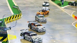 AWESOME BATTLE WITH FOUR RC MODEL DRIFT CARS!! * RC NISSAN SKYLINE, RC ACURA INTEGRA