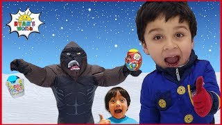 Giant Easter Eggs Hunt Surprise Toys for kids Pretend Play in Snow with Ryan's World Toys