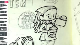 mytraveltoons 003 - Original Starbucks in Seattle