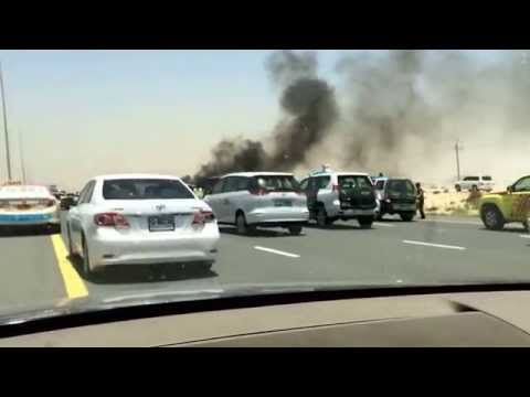 Deadly crash on Dubai road, bus in flames