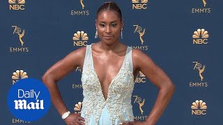 Insecure star Issa Rae is beautiful in blue at 2018 Emmy Awards