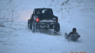 Ford Ranger Pulling Brother on Hood on Snow - GoPro