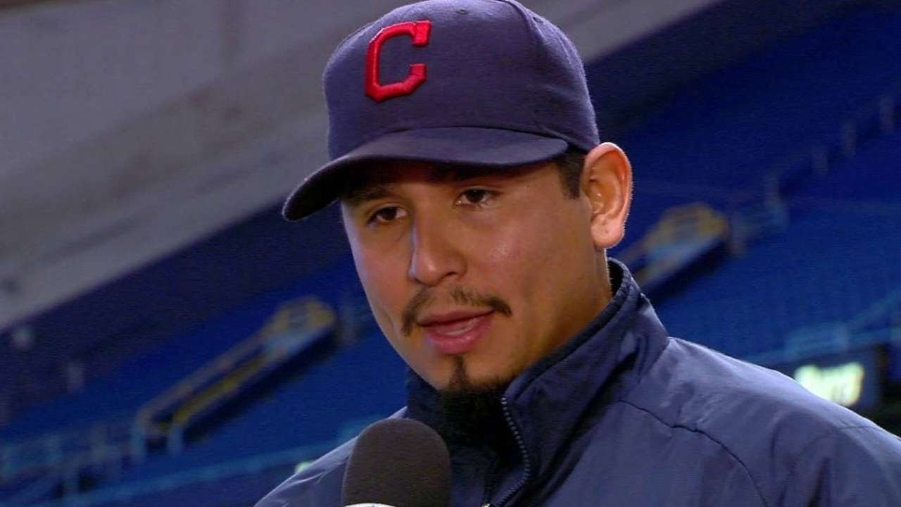 CLE@TB: Carrasco gets bath discussing near no-hitter