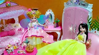 Princess Barbie doll Fairy Magic wand Change House and Dress
