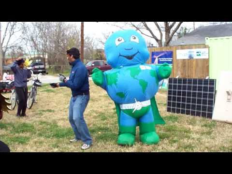 Workshop Houston Solar Dedication--Dancing Super Earth Mascot