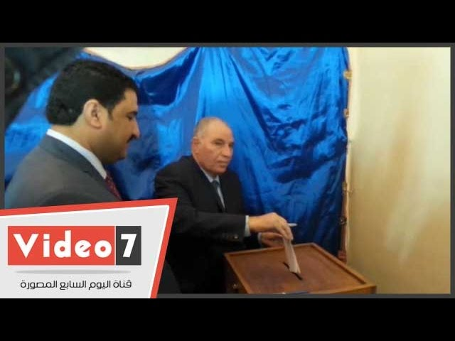 رئيس نادى القضاة يدلى بصوته فى انتخابات التجديد الثلثى