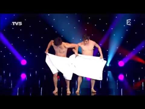 Two naked boys towel performance
