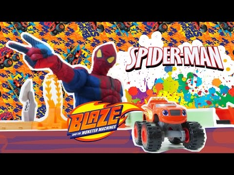 Super Hero. Amazing Spider Man. Blaze toys and monster truck games.