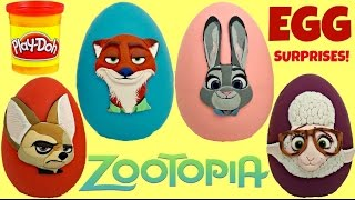 Disney ZOOTOPIA Play doh Surprise Eggs with Nick, Judy, Finnick, Bellwether Toys / TUYC