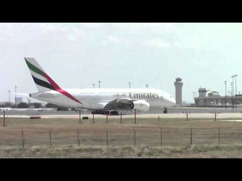 Emirates Airbus A380 at Dallas Fort Worth International Airport