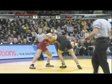 Mitch Mueller (ISU) vs. Brent Metcalf (Iowa) - 2008 College Wrestling Video