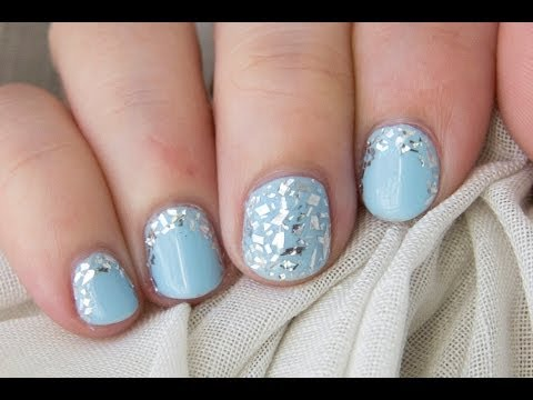 Diseño fácil uñas cortas con papel de aluminio cocina / Short nails easy design with kitchen foil