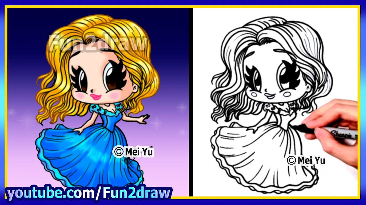 How To Draw A Cinderella Princess Fun2draw Youtube