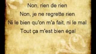 Non Je Ne Regrette Rien Edith Piaf