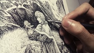 inking tutorial: pen and ink cross hatching illustration time lapse with a lightbox