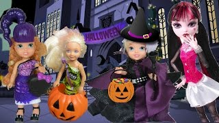 Anna and Elsa Toddlers Trick or Treating Halloween Haunted Barbie Chelsea Toys and Dolls Elsia Annia