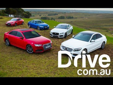 Audi A4 v BMW 330i v Jaguar XE v Lexus IS200t v Mercedes-Benz C250 | Drive.com.au