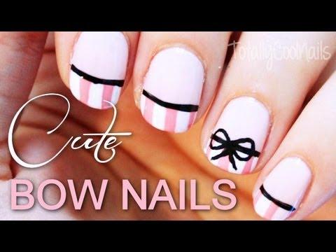 Pinstripe Bow Nail Art