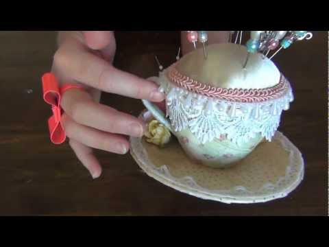 Tea Cup Pincushion Romantique Teacup & Stickpins - WOC