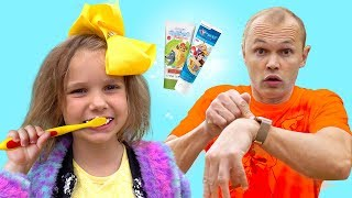 Put On Your Shoes Song KATY and daddy Pretend Play Morning Routine Brush Teeth Kids Songs