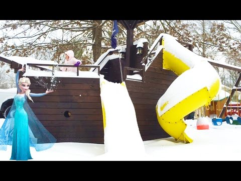 Playing on the Pirate Ship Playground Park in Deep Snow and Sled Riding W/ Play Doh Girl