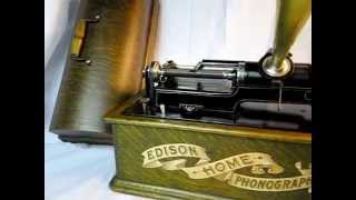 Thomas Edison's Electric Light Bulb Band Video - Edison Long Case Green Oak Home Phonograph Cylinder Record Player