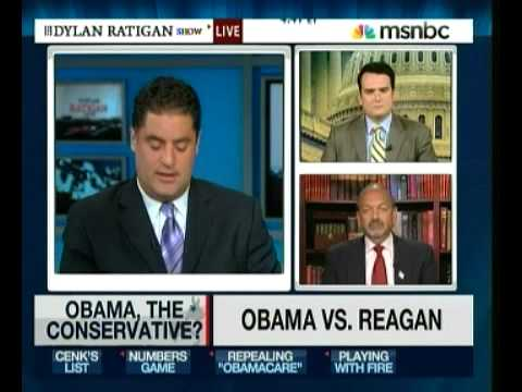 Host of The Young Turks Cenk Uygur (filling in for Dylan Ratigan on MSNBC) compares Barack Obama and Ronald Reagan on conservative policies. Cenk is joined b...