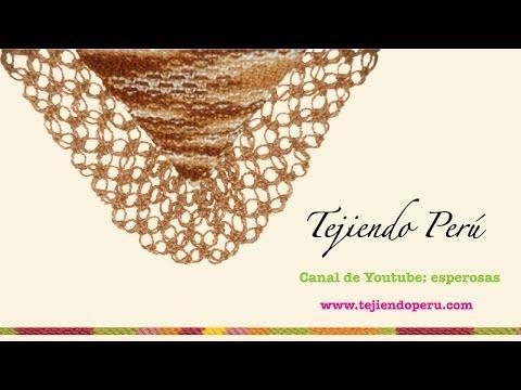 Chal (shawl) o punta tejido en dos agujas con borde en nudo salomón