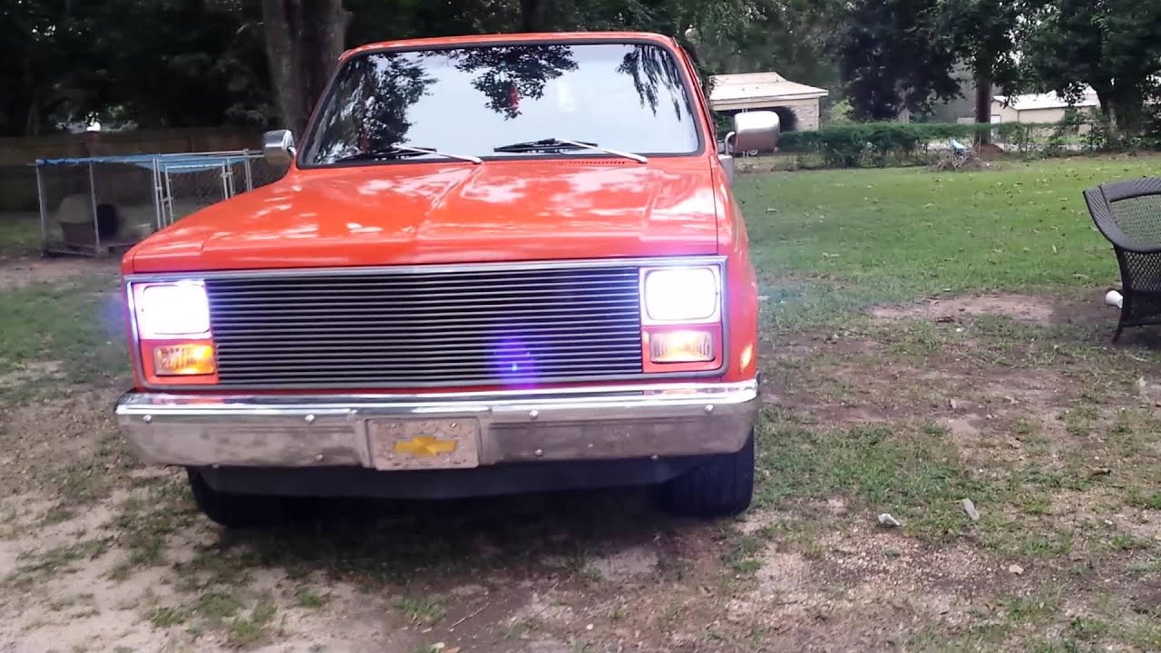 1985 Chevy C10 Parts 83 chevy c10 with Angel eye's headlights - YouTube