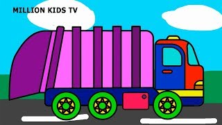 Garbage truck coloring pages, Colors trash truck video for kids