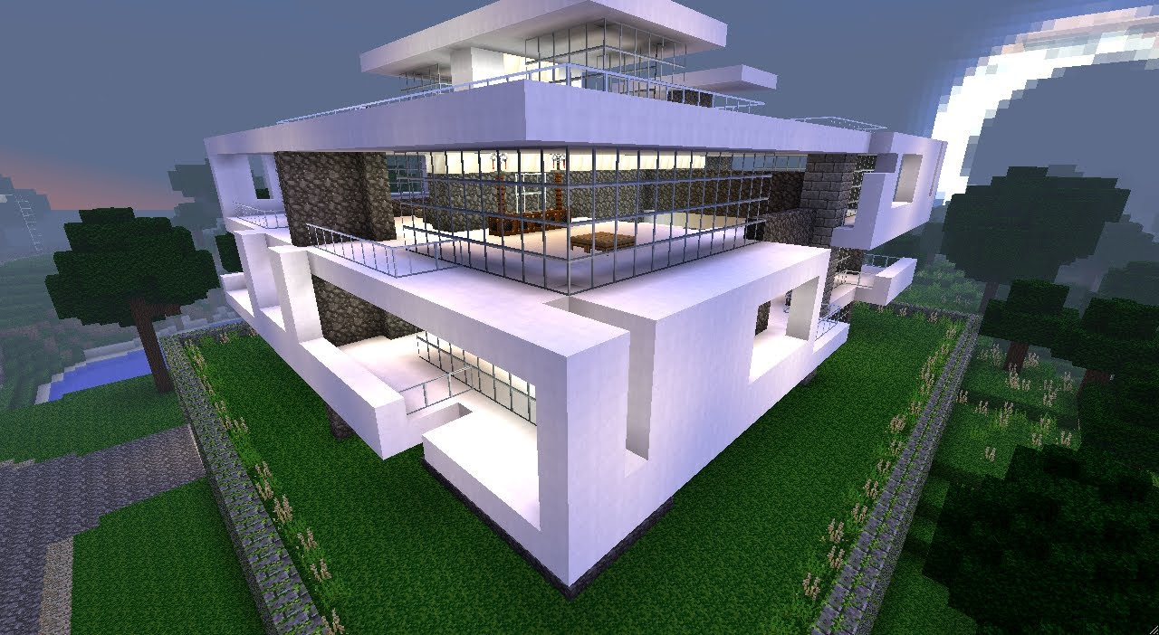 Minecraft tuto construction maison moderne partie 1 for Plan de construction villa moderne