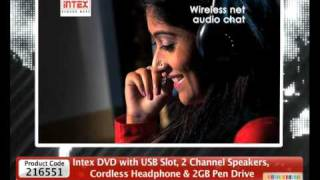 HomeShop18 -Intex DVD with USB Slot, 2 Channel Speakers, Cordless Headphone & 2GB Pen Drive@2999