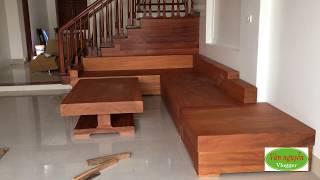 Vân nguyễn rinh bộ bàn ghế sofa gỗ lim nguyên khối về nhà mới. Tốn khá nhiều công sức để kê vào nhà