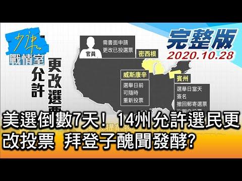 台灣-少康戰情室-20201028 1/3 美選倒數7天! 14州允許選民更改投票 拜登子醜聞發酵?