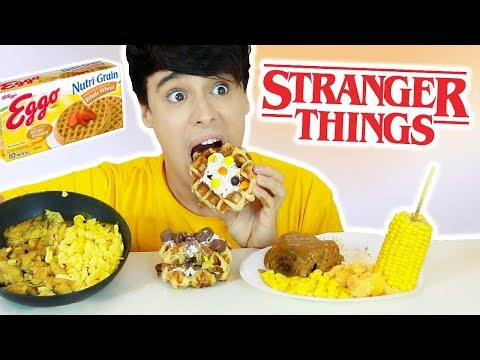 i decided to only eat foods available on STRANGER THINGS season 1 and 2 for a whole day! eggos triple decker extravaganza, mike's mum's meatloaf, barb's parents kfc meal and more weird foods...