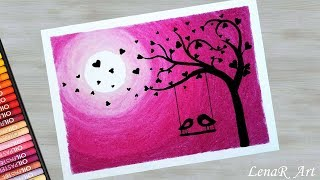 Easy Love Birds Drawing for Beginners with Oil Pastels - Moonlight scenery