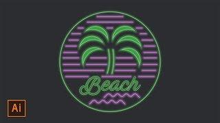 Illustrator Tutorial - Neon Beach Badge Logo (Illustrator Logo Tutorial)