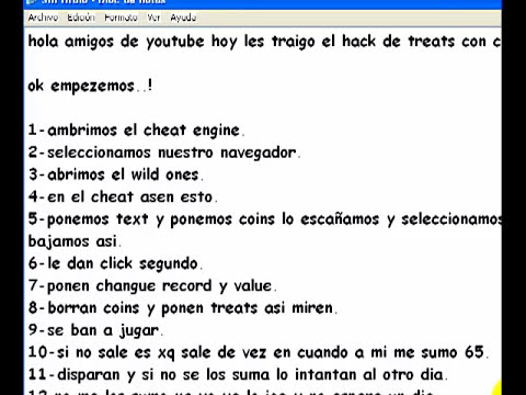 hack de treats con cheat engine 2012 (no banea)