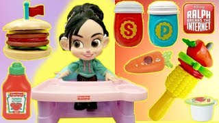 RALPH BREAKS THE INTERNET Vanellope eats Fisher Price Stacking Burger Play Set
