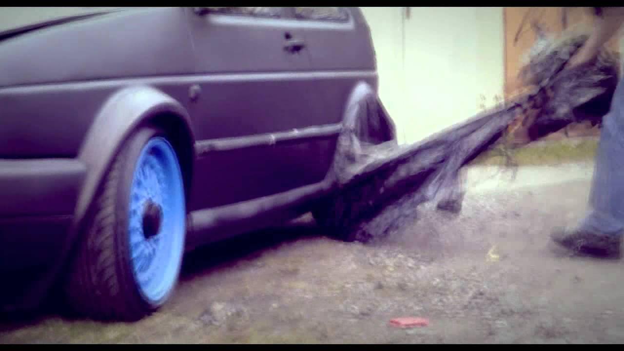 Volkswagen Golf MK2 GTI (semi-rat) Matte Coke Rattle Canned Open Air Paint Job 2012 - YouTube