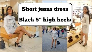 Crossdresser - short jeans dress and black 5 inch high heels pumps | NatCrys