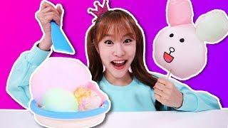 철판아이스크림 솜사탕 아이스크림 만들기 놀이 cotton candy 지니