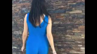 Blue jumpsuit and high heels Amiclubwear