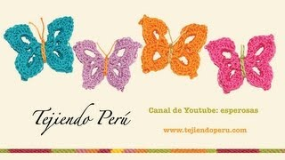 Mariposas en crochet / English subtitles: crochet butterfly - Tejiendo Perú