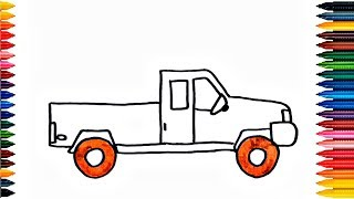 pick up truck | kids car drawing | street vehicles for children - video for kids
