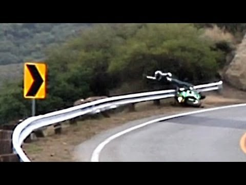 Crash - Rider Launched Over Guardrail - 2/19/2012