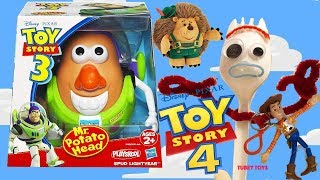 Unboxing Old Toy Story Toys Forky Toy Story 4 Spud Lightyear Mr. Potato Head, Woody, Buzz Tubey Toys