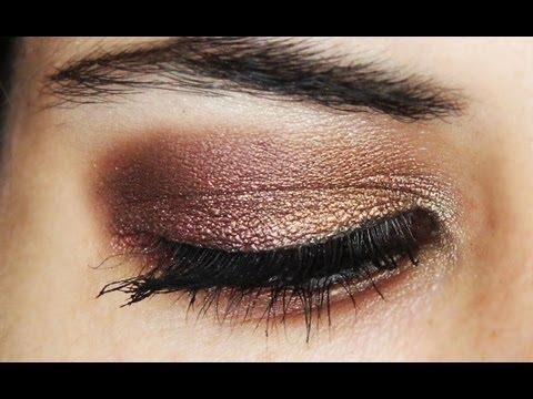 Maquillaje de ojos en dorado y bronce para fiestas o noche - Gold and bronze eye makeup tutorial